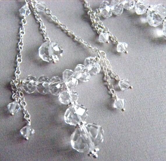 Silver Earrings, Chandelier Earrings, Bridal Earrings, Crystal Earrings, Bridal Jewelry, Wedding Jewelry, Ornate Wedding Jewelry - Marquesa
