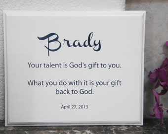 Personalize Baptism plaque hand made sign for Baptism First Communion Graduation God's Gift Name & Date for boy girl Solid Wood 11x9 Picture