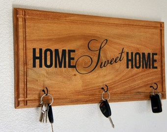 Spruce up an existing area with a new Home Sweet Home Key Holder 22x11- Wood Sign New Home / Realtor closing Gift Plaque Handmade in USA