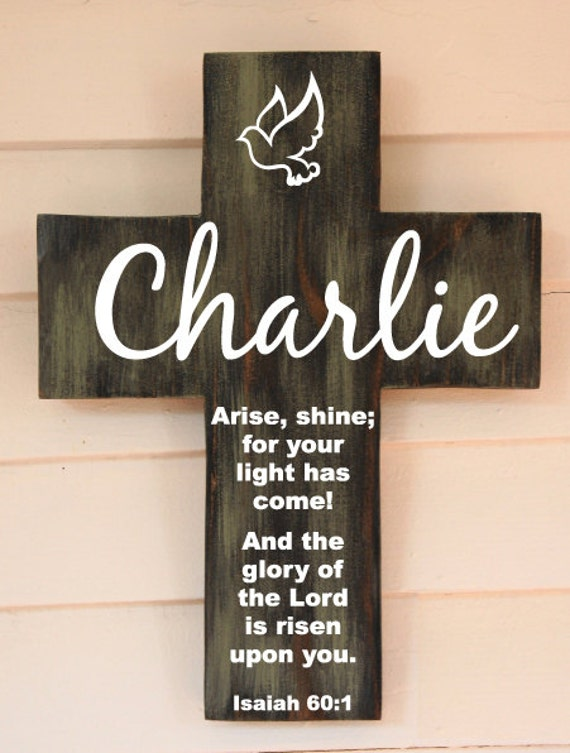Personalized Christening Cross Gift With Scripture Isaiah For