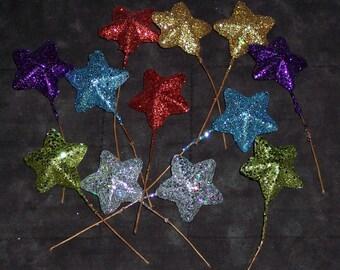 glittered star picks,multicolored,12/pk,4 inch pick,florals,July 4th celebration, table arrangements,graduation,birthday
