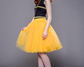 Adult yellow tulle skirt, tutu skirt, petticoat, wedding skirt, custom made to order