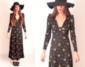 Vintage Black Floral Print 1970's Hippy Maxi Dress