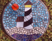 """Lighthouse By the Sea - Handmade Stained Glass and Concrete Stepping Stone - 14"""" Round"""