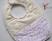 SALE- Baby Bib- Shabby Chic pink garden roses with a cream cotton, backed with natural coloured chenille.