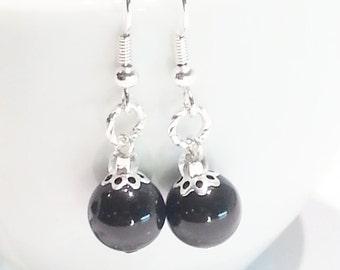 Earrings Black Swarovski Crystal Pearls