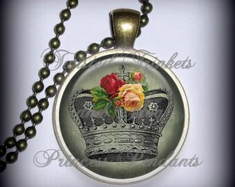 Crown Pendant Charm in Sage, Queen Pendant, Rose Necklace Pendant (p165)