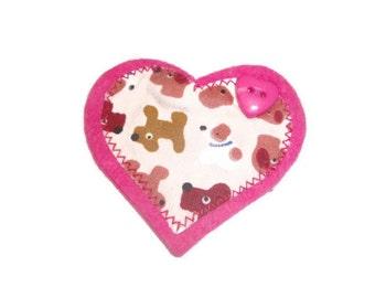 Dog Lovers Brooch. Handmade Heart Brooch. Pink Brooch. Dog Brooch.  SALE ITEM.