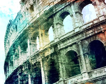 """Italy Photography, Rome Photography, 8x10 photograph, Monument, Colosseum Photography, Colorful, Modern, Unique, """"Memories of Rome"""""""