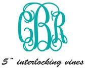 """5"""" Monogram Decal Interlocking Vines Script Vinyl Sticker"""