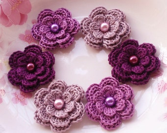 6 Crochet Flowers With Pearls In Lilac mist, Purple, Plum YH-013-40
