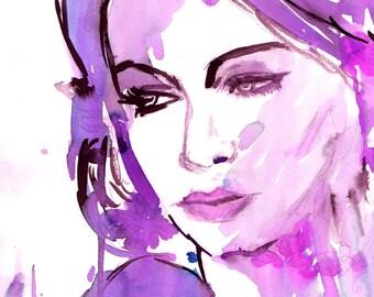 Sofia by Jessica Buhman, Print of Original Watercolor Painting, 8 x 10 Dramatic Vogue Purple Green Blue Pink