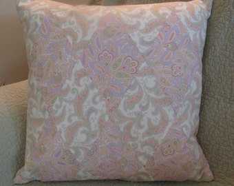 Pastel Paisley Print Pillow Cover Pieced in a Harlequin Pattern-Peach