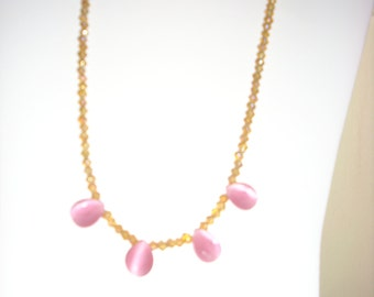 Handmade Gold & Pink Glass Bead Necklace