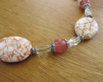 Pink turquoise and cherry quartz beaded necklace