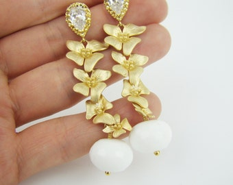 Cascading orchid earrings, flower earrings, stud earrings, 7PM boutique, party, prom, wedding, handcrafted jewelry, wedding