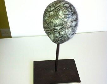 Modern Organic art sculpture, Beach Stone Found Object and Pencil from the Halina Koch Petroglyph Stone Head Series No. 2