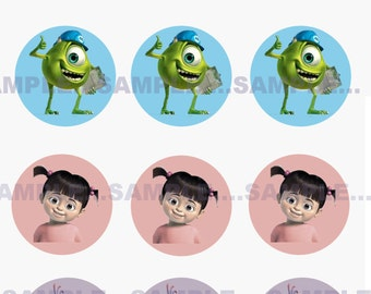 INSTANT Download!!! Monsters Inc, Disney Bottle Cap Images- DIGITAL-Tags-Cupcake Toppers-Scrapbooking and More.