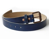 Mens Handmade Dark Blue Leather Belt, Copper Buckles and Rivets