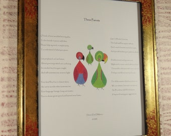 Three Parrots Poem, 11 x 14, with original watercolor illustration of two Eclectus parrots and one Conure.