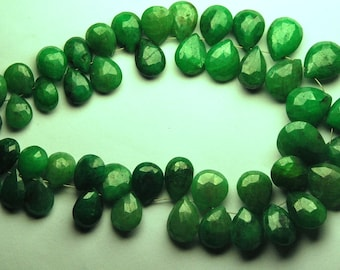 15 Pieces,SUPERB-Superb-Finest Quality,Dyed Natural Green Ruby Faceted Pear Shape Briolettes, 10-14mm size