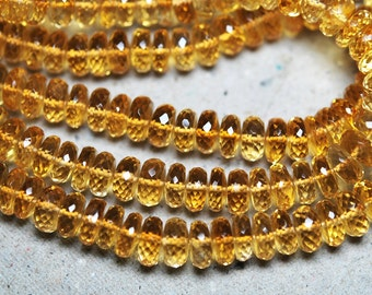 8 Inch Strand,CITRINE, Full Strand Micro Faceted Rondelles,7-8mm Size,Super Quality