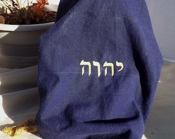 Tetragrammaton (Yud HeY Vav Hey) Navy Blue Linen/Rayon Snood Headcovering