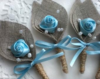 Set of 6- Blue Flower burlap Boutonniere (buttonhole)