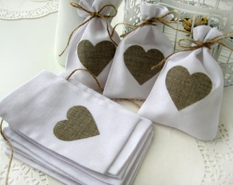 Set of 100 - White Rustic Linen Wedding Favor Bag with natural linen hearts or Candy Buffet Bag or Gift Bag 4 x 6