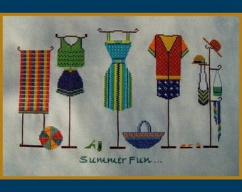 Summer Fun! Counted Cross Stitch Chart. Summer Couture Design. Shop Window.Dresses & Accessories.Clothing Design.Decor.DIY. Direct Checkout.