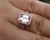 Emerald Cut Morganite Engagement Ring Wedding Ring Set in 14 Rose Gold with Morganite Emerald Cut 9x7mm and Diamond Halo Bridal Ring Set
