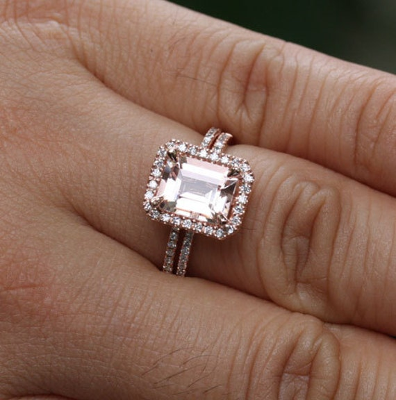 Emerald Cut Morganite Engagement Ring Wedding Ring Set in 14