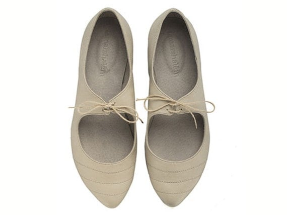 Magie, Stone, White shoes, Flats, Gray shoes, Leather Shoes, Handmade Shoes