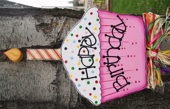 Happy Birthday Cupcake Yard Stake Boy Or Girl Birthday Wood