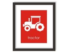 Tractor Wall Art, Farm Decor, Red Tractor, Children Wall Art, Playroom Print, Modern Nursery Art, Toddler Art, Farm Baby, Kids Prints