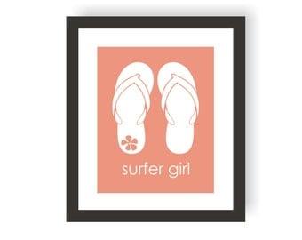 Surfer Girl Art Print, Flip Flop Decor, Kids Surf Art, Surfing Decor, Little Girl Art, Beach Decor, Surfer Baby, Wall Art For Girls