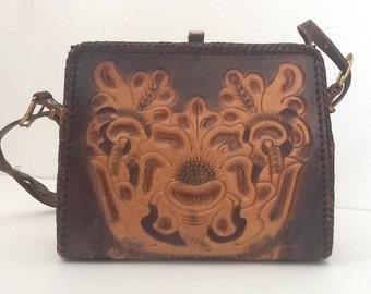 Vintage Clifton's Hand Tooled Leather Handbag 50's 60's Rockabilly Western Purse