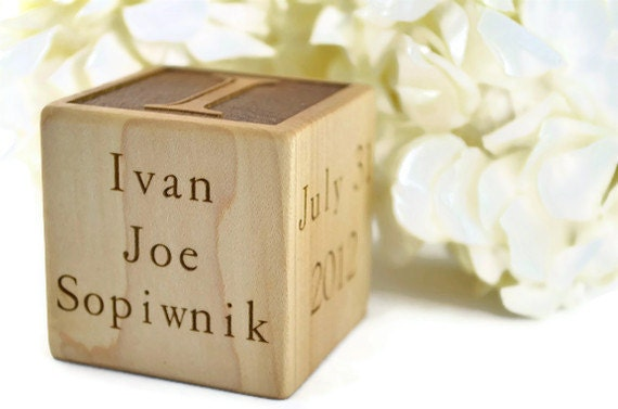 Custom Engraved Baby Block, Personalized, Maple or Walnut