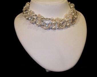 Bridal Pearl Necklace with Swarovski and Rhinestones