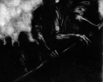 "Haunting Figure Print Black Dark Creepy Spooky Hand Pulled Fine Art Monotype ""Waiting Study No. 13"""