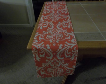 Coral and white damask table runner