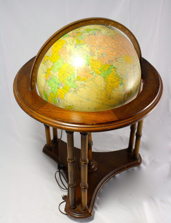 Vintage Replogle 16 inch Globe Wooden Stand Illuminated