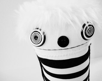 POLKADOTTYDOLL - Halloween Plush Black and White Stripe Plush Art Doll Ooak Doll Goth Art Doll Crazy - LYNDA BLACK
