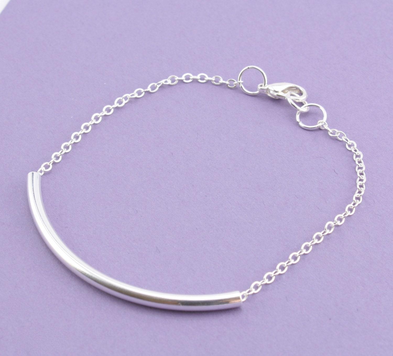 Simple Silver Tube Bracelet Silver Chain Bracelet Stacking