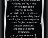 The Our Father on Black Mirror Reverse Engrave 9 Inch by 12 Inch with Free Shipping Limited Edition.