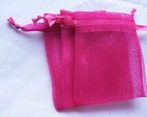 200 Hot Pink Organza bags, 4x6 inch