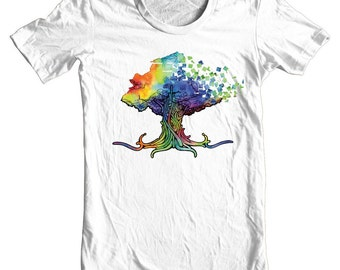 Life Tree Art T-shirt by Black Ink Art - White T-shirt - Wearable Art - Surreal Art