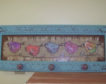 Bird Picture on Burlap with Knobs-Coat Hanger-Scarf Hanger-Jewelry Holder-Girls Decor