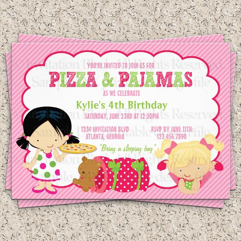 Pyjama Party Invitation Template. beautiful pajama party birthday ...