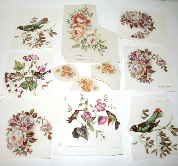 Ceramic Decals Flowers And Birds GORGEOUS Vintage Transfers